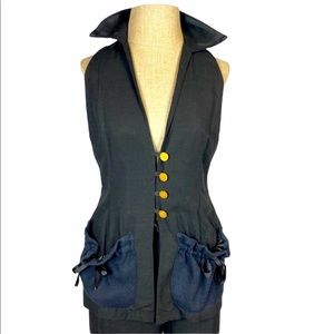 Todd Oldham Times 7 Vintage Vest Suit Set, Black